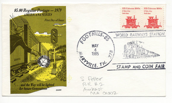 05 04 1985 FDC RR Caboose 1800s Foothills Maryville TN World Railways Station