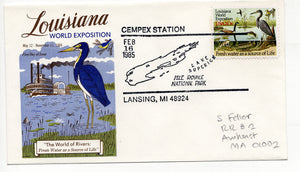 02 16 1985 FDC Louisiana World Exposition RR Cempex Station