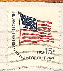 04 16 1979 GCI 3 Gift Card Insert -  Post Marked American Flag Home of the Brave