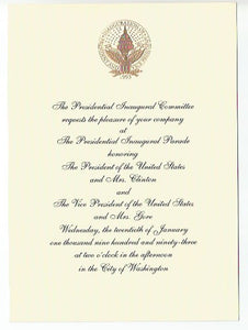 Copy of 01 20 1993 Parade and Ball Invitations from Clinton Gore Inauguration