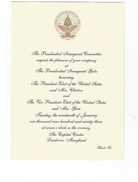 01 19 1993 Gala Invitation - Clinton Gore Inauguration