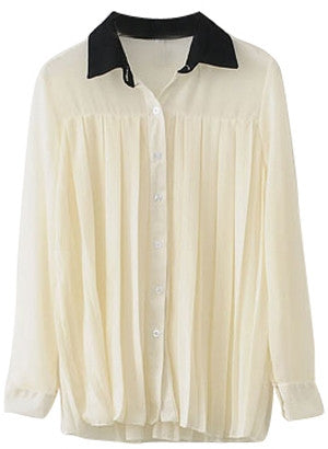 Black collared accordion pleat plain shirt