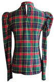 Tartan high collared shirt