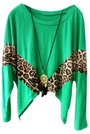 Asymmetric cropped leopard paneled blouse
