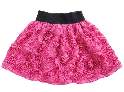 Rose pattern pleated pompom skirt