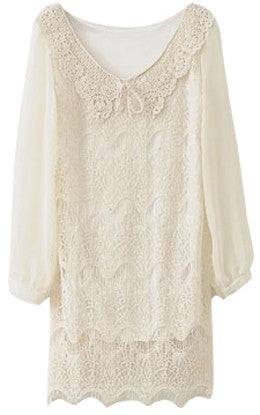 Double layered tunic with crocheted embellishment collar