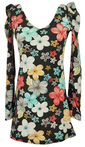 Floral print V-neck folded shoulder dress