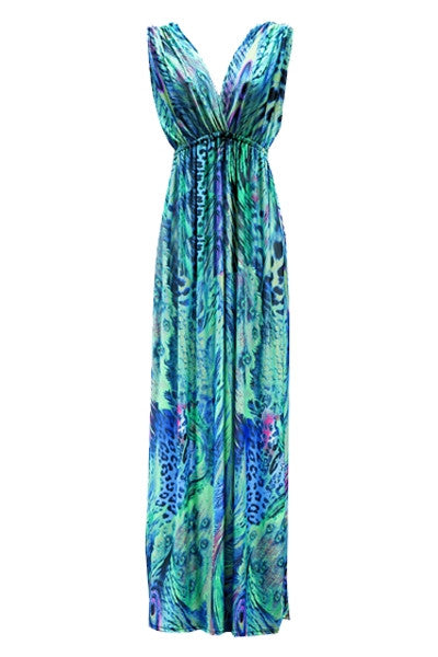Turquoise Peacock Maxi Dress