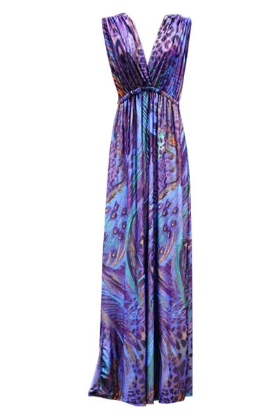 Purple Peacock Maxi Dress