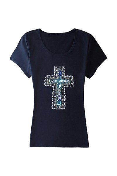 Beaded Cross T-shirt