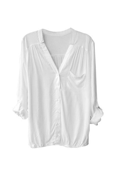 Collarless Pocket Blouse