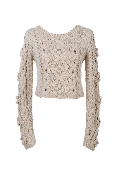 Cropped Bobble & Bead Knitted Sweater