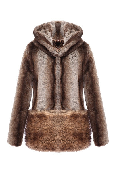 Faux Fur Hooded Coat With Ears