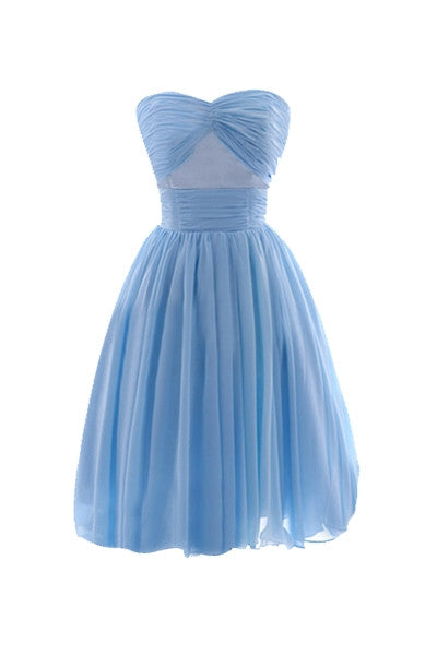 Baby Blue Strapless Ruched Dress