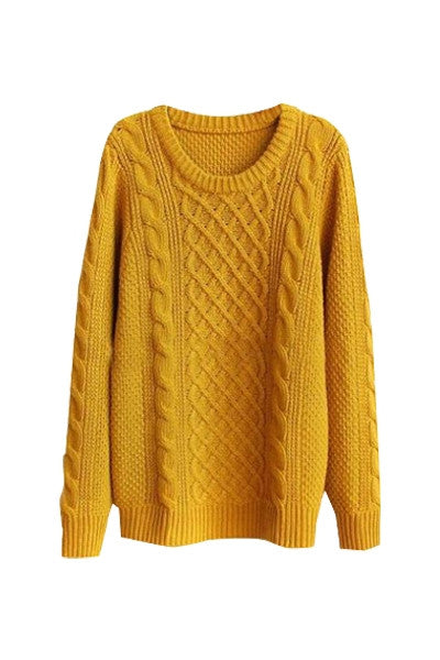 Mustard Cable Knit Sweater Miss Iny