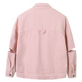 Pink Split Sleeve Denim Jacket