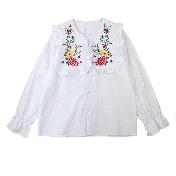 White Embroidered Bib Shirt