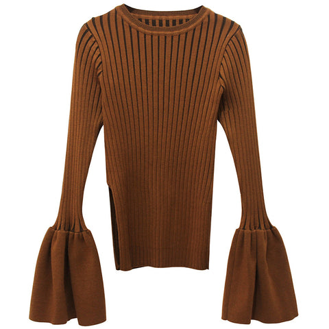 Brown Fluted Sleeve Sweater