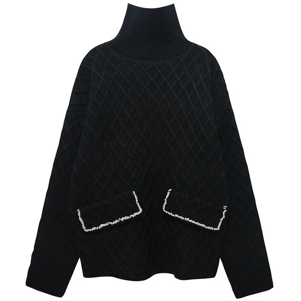Quilted Effect Black Turtle Neck