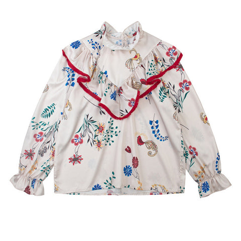 Flowers And Birds Bib Top