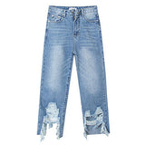 Distressed Hem Denim Jeans