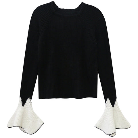 Black and White Fluted Sleeve Sweater