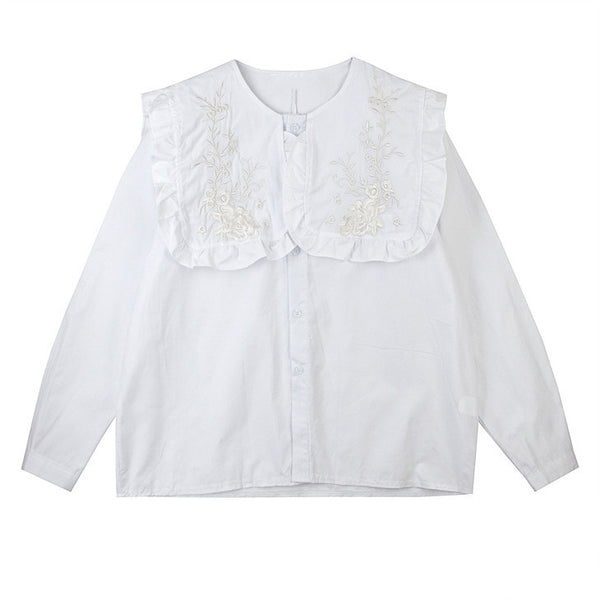 Embroidered White Bib Shirt