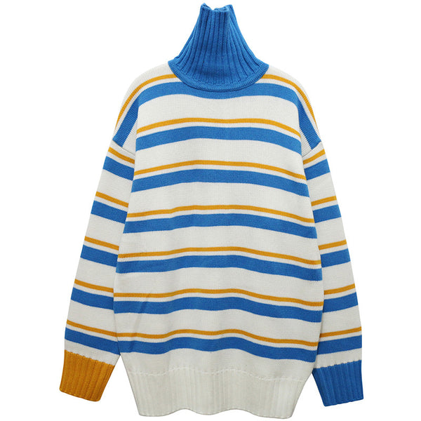 Mustard and Blue Striped Turtle Neck
