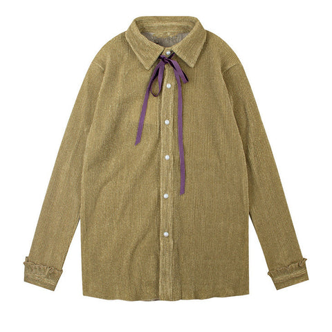 Ribbed Camel Bow Shirt