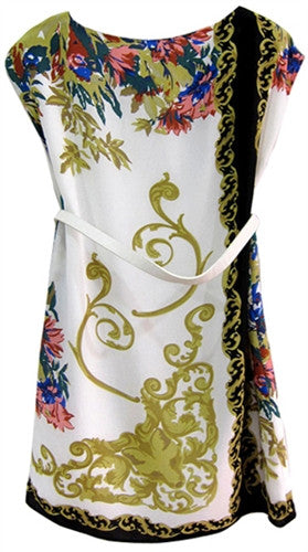 Jewel neckline printed tunic dress