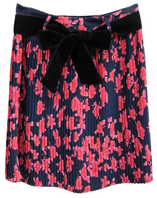 A-line pleated skirt with floral pattern