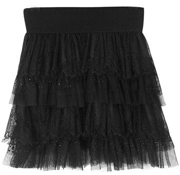 Ruffled mini skirt with embroidered layers