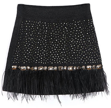 A-line knitted mini skirt with feather fringe