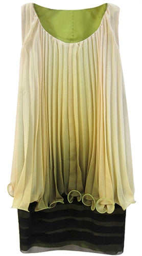 Two layered ombre pleat tunic dress