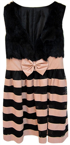 Furry top hybrid dress with striped bottom