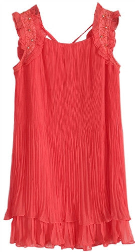 Pleated chemise top with embellished wide shoulder straps
