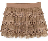 Ruffle mini skirt with cut out craftwork