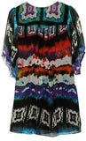 Watercolor print tunic with front zipper dcollet