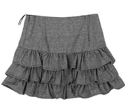 Ruffle mini skirt with hound tooth pattern