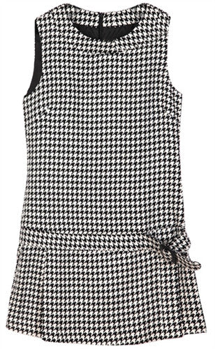 Low waist mini dress in hounds tooth pattern