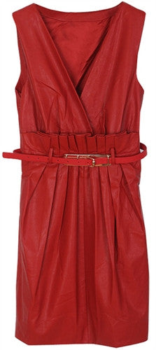 Sleeveless leather dress with pleated waist