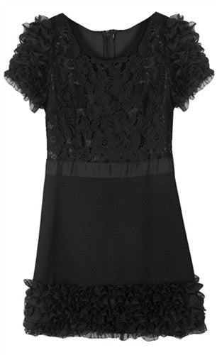 Shift dress with floral sheer lace top