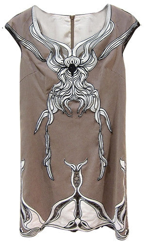 Shift sleeveless dress with artistic print applique