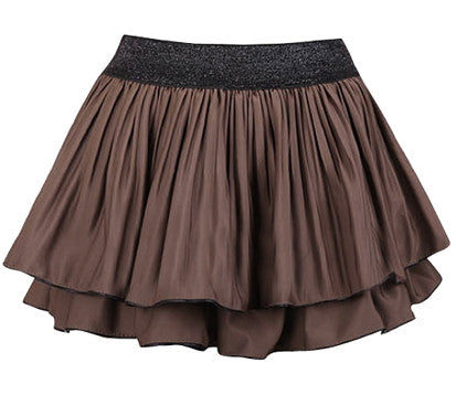 Pleated knit mini skirt with sparkling waist band