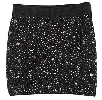 Knitted mini skirt with jewel beading