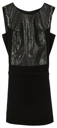 Sleeveless tunic dress with reptile pattern waist