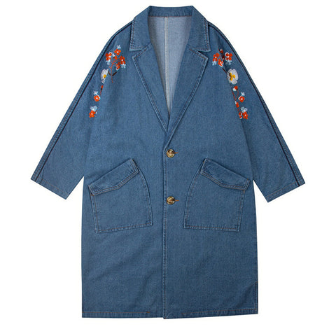 Embroidered Blue Denim Coat