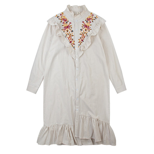 Frilled Embroidered Bib Tunic