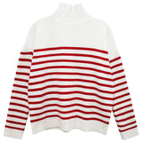 Red and White Stripe Button Sweater