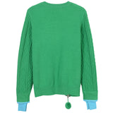 Green Zip Detail Cable Knit Sweater